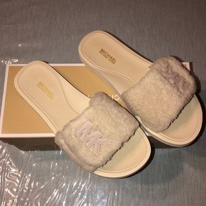 Michael Kors Faux Fur Slides